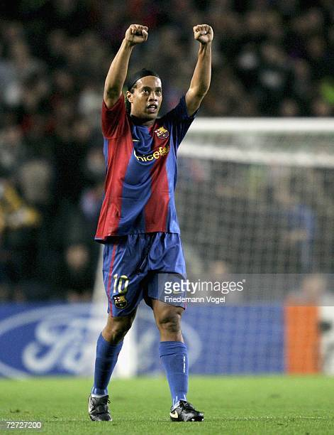 Ronaldinho of Barcelona celebrates scoring the First Goal during the UEFA Champions League Group A match between FC Barcelona and Werder Bremen at...