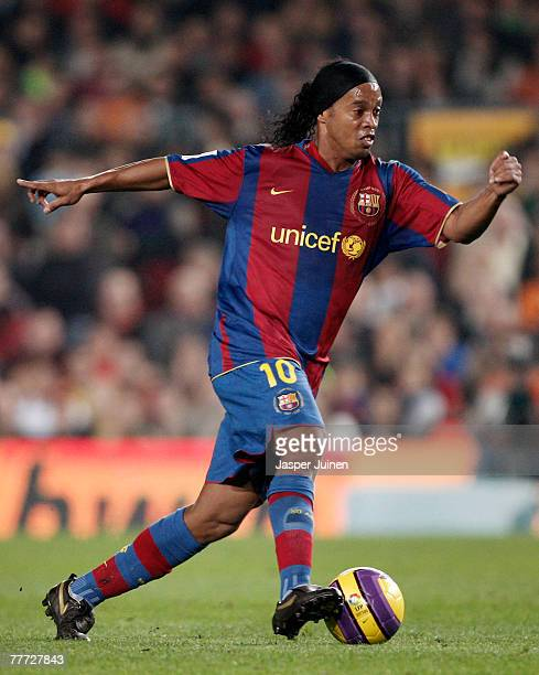 Ronaldinho of Barcelona controls the ball during the La Liga match between Barcelona and Real Betis at the Camp Nou Stadium on November 4 2007 in...