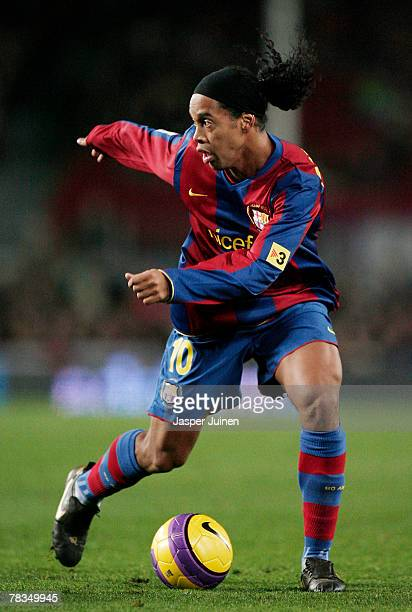 Ronaldinho of Barcelona controls the ball during the La Liga match between Barcelona and Deportivo La Coruna at the Camp Nou Stadium on December 9...