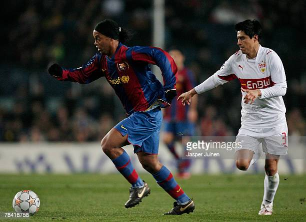 Ronaldinho of Barcelona duels for the ball with Ricardo Osorio of Stuttgart during the UEFA Champions League Group E match between Barcelona and...