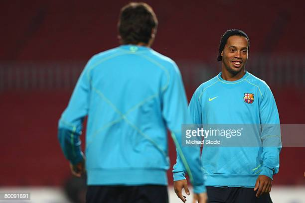 Ronaldinho of Barcelona during the Barcelona Training session ahead of the UEFA Champions League second leg of the First knockout round match between...