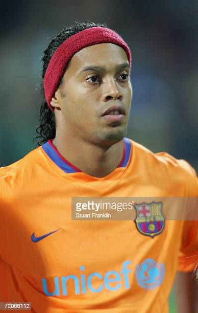 Ronaldinho of Barcelona during the UEFA Champions League group A match between Werder Bremen and FC Barcelona at the Weser Stadium on September 27...