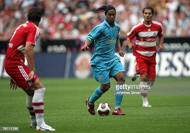 Ronaldinho of Barcelona in action during the Franz Beckenbauer Cup match between Bayern Munich and Barcelona at the Allianz Arena on August 15 2007...