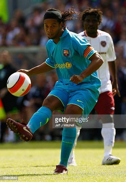 Ronaldinho of Barcelona in action during the friendly match between Hearts and Barcelona at Murrayfield Stadium on July 28 2007 in Edinburgh Scotland