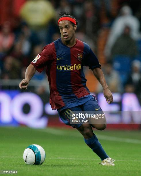 Ronaldinho of Barcelona in action during the Primera Liga match between Real Madrid and Barcelona at the Santiago Bernabeu stadium October 22 2006 in...