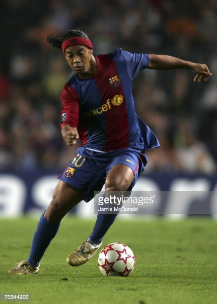 Ronaldinho of Barcelona in action during the UEFA Champions League Group A match between Barcelona and Chelsea at the Nou Camp on October 31 2006 in...