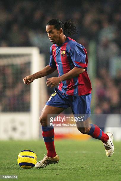 Ronaldinho of Barcelona in action during the UEFA Champions League Group F match between FC Barcelona and Glasgow Celtic held at The Nou Camp Stadium...