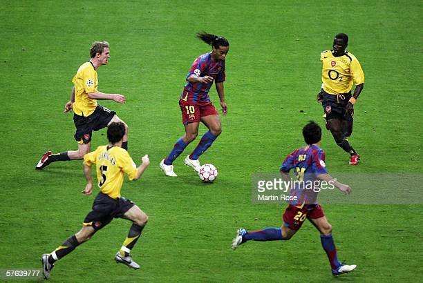 Ronaldinho of Barcelona in action during the UEFA Champions League Final between Arsenal and Barcelona at the Stade de France on May 17 2006 in Paris...