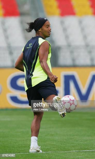 Ronaldinho of Barcelona juggles a ball during the Barcelona training session prior to the UEFA Champions League Final between Arsenal and Barcelona...