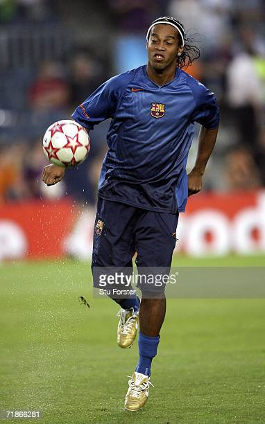 Ronaldinho of Barcelona juggles the ball before the UEFA Champions League Group A match between Barcelona and Levski Sofia at The Nou Camp Stadium on...