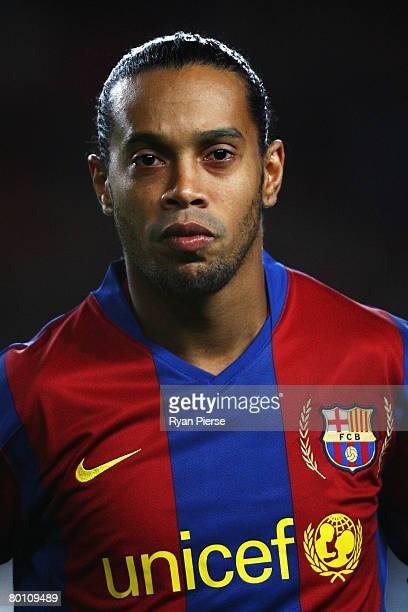 Ronaldinho of Barcelona looks on prior to the UEFA Champions League 2nd leg of the First knockout round match between FC Barcelona and Celtic at the...