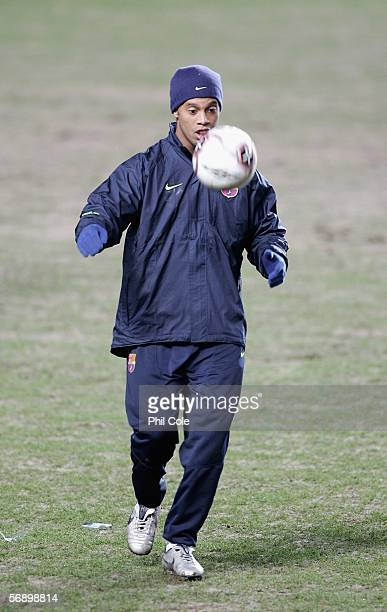 Ronaldinho of Barcelona play keep up during training for the UEFA Champions League match against Chelsea at Stamford Bridge on February 21 2006 in...