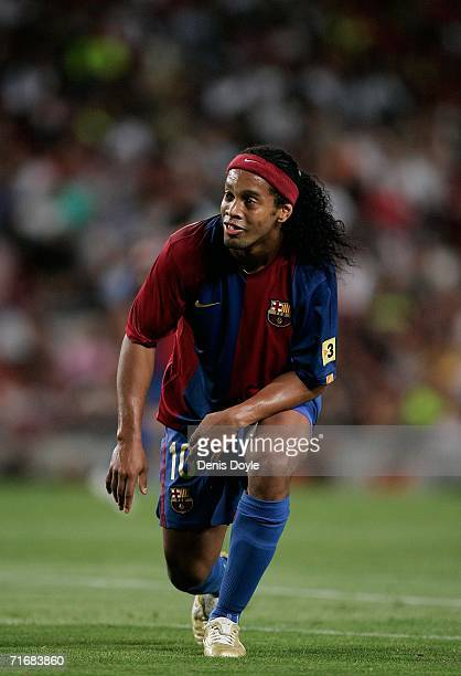 Ronaldinho of Barcelona reacts after missing a shot at goal during a Supercup 2nd leg match at the Camp Nou stadium on August 20 2006 in Barcelona...