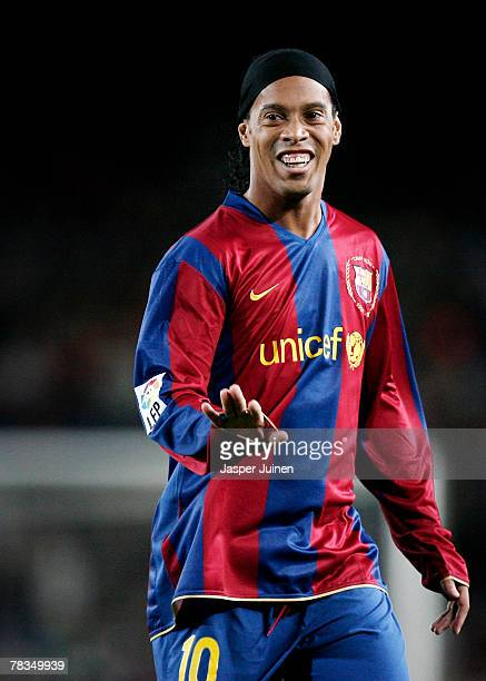 Ronaldinho of Barcelona reacts during the La Liga match between Barcelona and Deportivo La Coruna at the Camp Nou Stadium on December 9, 2007 in...