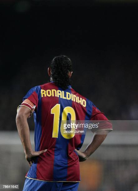 Ronaldinho of Barcelona reacts during the La Liga match between Barcelona and Real Madrid at the Camp Nou Stadium on December 23 2007 in Barcelona...