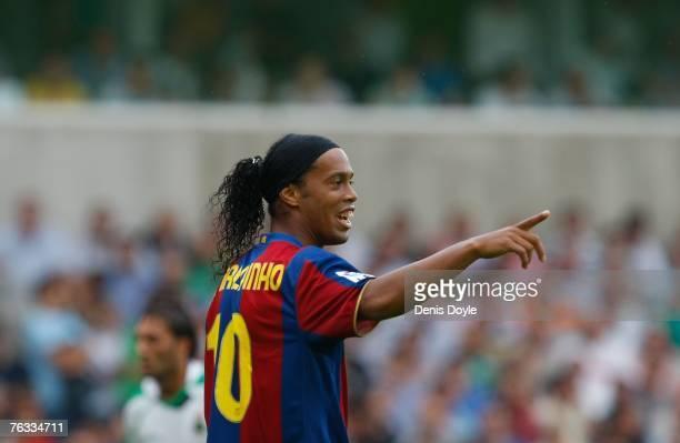 Ronaldinho of Barcelona reacts during the Primera Liga match between Racing Santander and Barcelona at the El Sardinero stadium on August 26 2007 in...