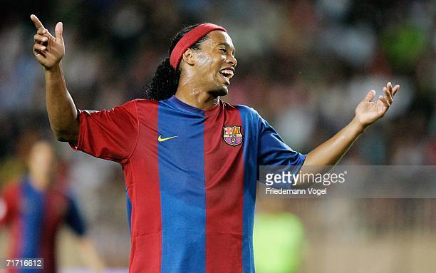 Ronaldinho of Barcelona reacts during the UEFA Super Cup between FC Barcelona and FC Sevilla at the Stadium Louis II on August 25 2006 in Monte Carlo...