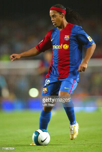 Ronaldinho of Barcelona runs in action during the match between FC Barcelona and Valencia of La Liga on September 2006 played at the Camp Nou stadium...