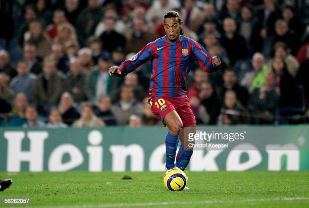 Ronaldinho of Barcelona runs with the ball during the UEFA Champions League Group C match between FC Barcelona and Werder Bremen at the Camp Nou...