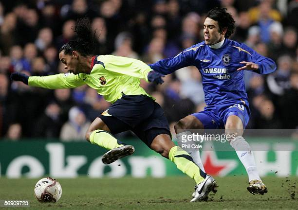 Ronaldinho of Barcelona takes on Paulo Ferreira of Chelsea during the UEFA Champions League Round of 16 First Leg match between Chelsea and Barcelona...