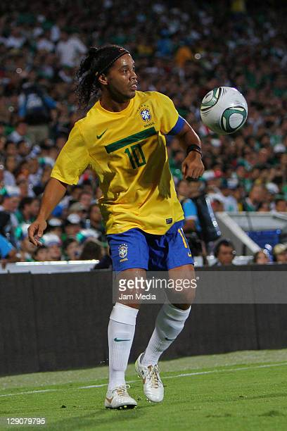 Ronaldinho of Brasil during a friendly match between Mexico National Team and Brasil National Team at the Corona Stadium on October 11 2011 in...