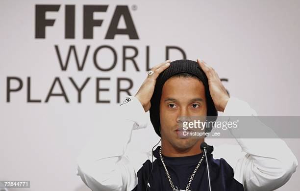 Ronaldinho of Brazil and Barcelona speaks to the media during a press conference prior to the FIFA World Player of the Year Awards ceremony at the...