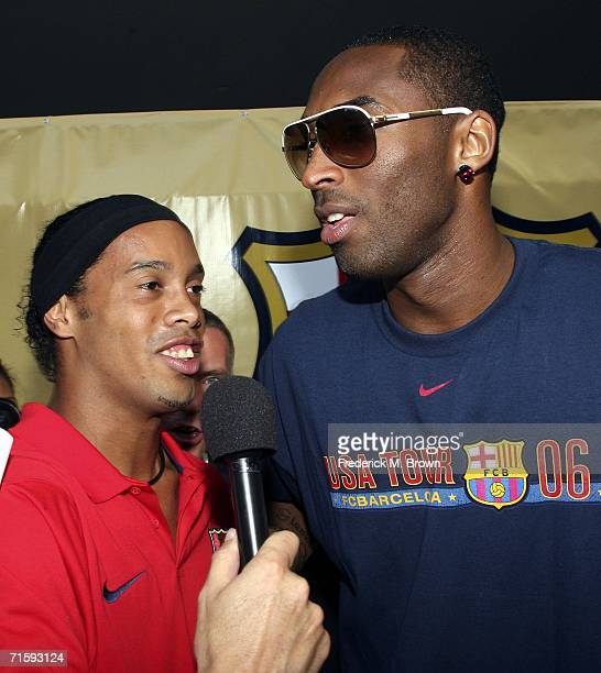 Ronaldinho of Brazil and Kobe Bryant of the Los Angeles Lakers speak at Nike European Club Champion FC Barcelona Rally at Hollywood and Highland on...