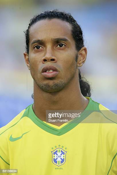 Ronaldinho of Brazil at The FIFA Confederations Cup Match between Japan and Brazil at The Rhein Energy Stadium on June 22 2005 in Cologne Germany