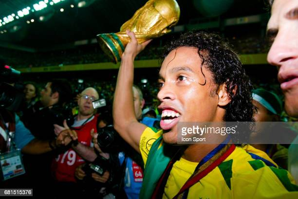 Ronaldinho of Brazil celebrate his victory with the World Cup Trophy during the World Cup Final match between Germany and Brazil at Yokohoma...