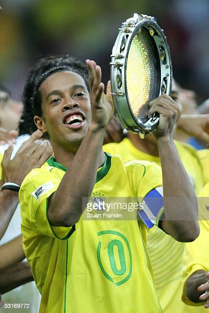 Ronaldinho of Brazil celebrates victory following the FIFA 2005 Confederations Cup Final between Brazil and Argentina on June 29 2005 at the...