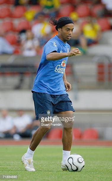 Ronaldinho of Brazil controls the ball during the Brazil National Football Team training session for the FIFA World Cup Germany 2006 at the...