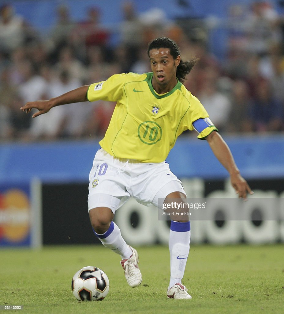 Ronaldinho of Brazil during The FIFA Confederations Cup Match between Japan and Brazil at The Rhien Energy Stadium on June 22, 2005 in Cologne, Germany.