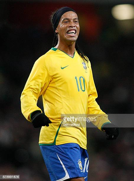 Ronaldinho of Brazil during the international friendly match between Brazil and Italy at the Emirates Stadium in London UK