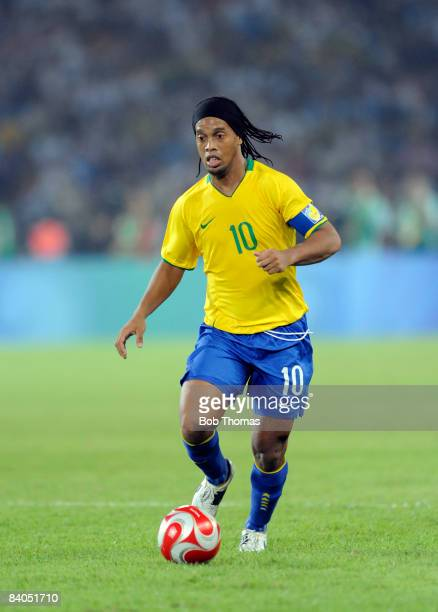 Ronaldinho of Brazil during the men's football semifinal match between Argentina and Brazil at Workers' Stadium on Day 11 of the Beijing 2008 Olympic...