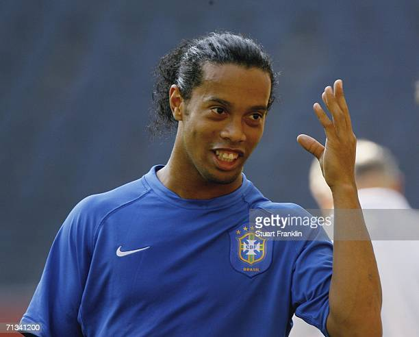 Ronaldinho of Brazil gestures during the Brazil National Football Team training session for the FIFA World Cup Germany 2006 at the FIFA World Cup...