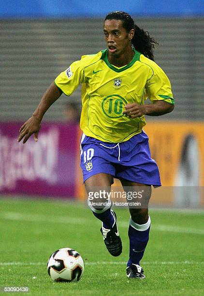 Ronaldinho of Brazil in action during the FIFA Confederations Cup 2005 Match between Brazil and Greece on June 16 2005 in Leipzig Germany