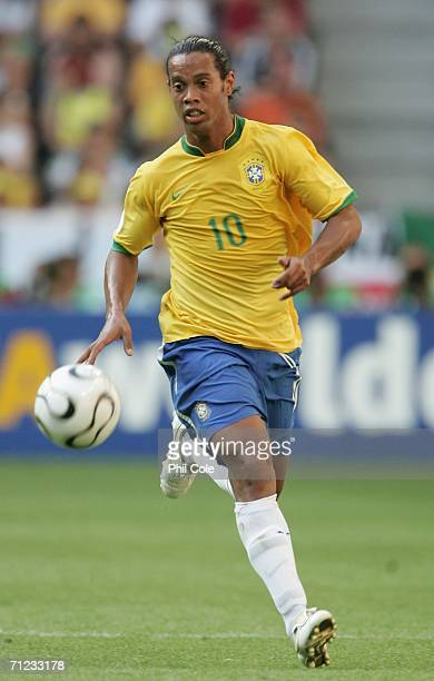 Ronaldinho of Brazil in action during the FIFA World Cup Germany 2006 Group F match between Brazil and Australia at the Stadium Munich on June 18...