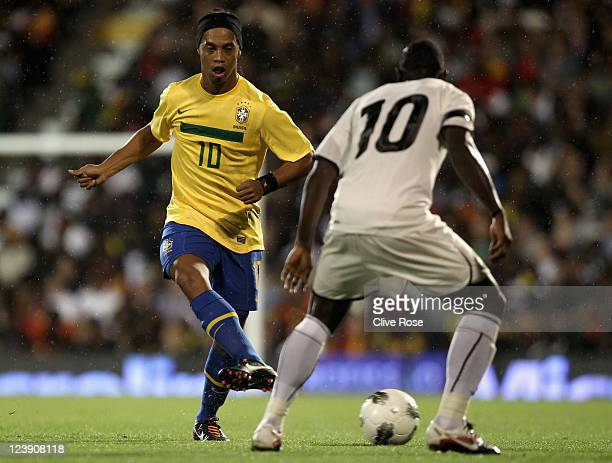 Ronaldinho of Brazil in action during the International friendly match between Brazil and Ghana at Craven Cottage on September 5 2011 in London...