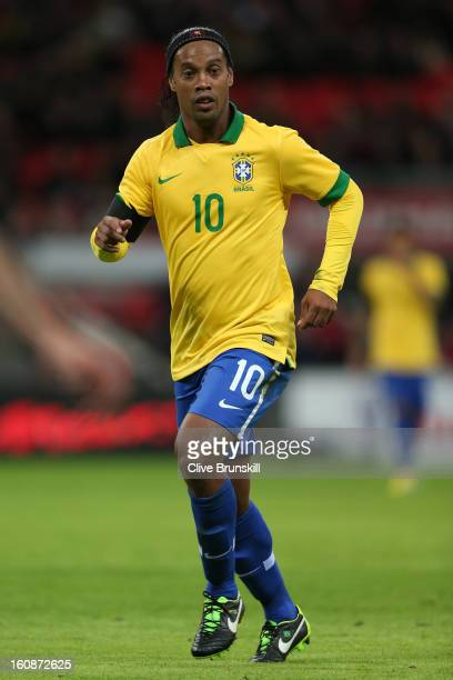Ronaldinho of Brazil in action during the International friendly between England and Brazil at Wembley Stadium on February 6 2013 in London England