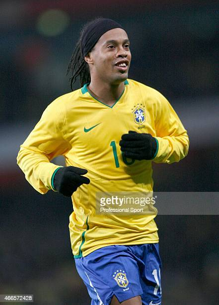 Ronaldinho of Brazil in action during the international friendly match between Italy and Brazil on February 10 2009 in London England