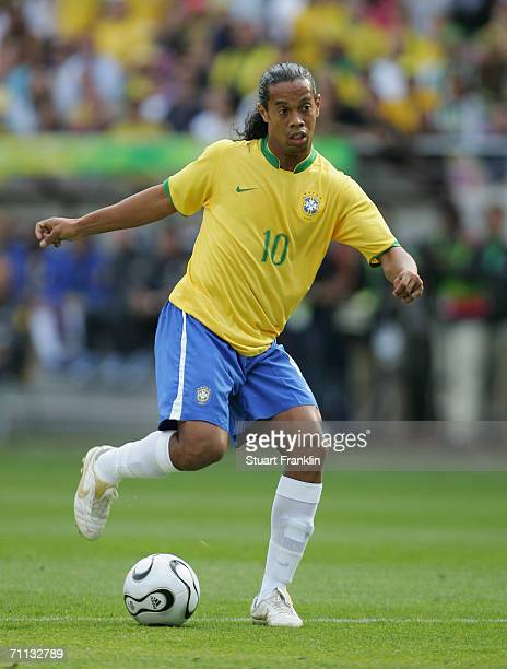 Ronaldinho of Brazil in action during the international friendly match between Brazil and New Zealand at the Stadium de Geneva on June 4, 2006 in...