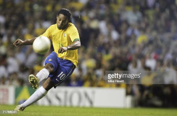 Ronaldinho of Brazil just misses with this freekick attempt during the International friendly match between Brazil and Wales at White Hart Lane on...