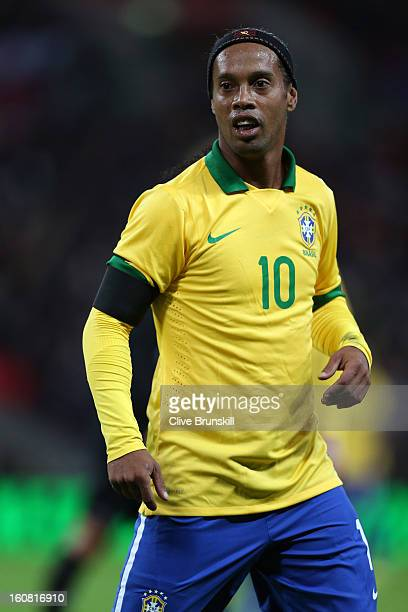 Ronaldinho of Brazil looks on during the International friendly between England and Brazil at Wembley Stadium on February 6, 2013 in London, England.
