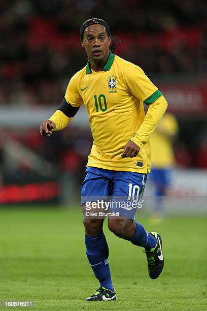 Ronaldinho of Brazil looks on during the International friendly between England and Brazil at Wembley Stadium on February 6 2013 in London England