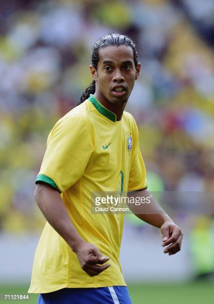 Ronaldinho of Brazil looks on during the international friendly match between Brazil and New Zealand at the Stadium de Geneva on June 4, 2006 in...