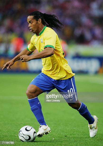 Ronaldinho of Brazil moves upfield with the ball during the FIFA World Cup Germany 2006 Group F match between Brazil and Croatia played at the...