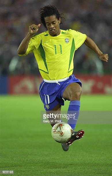 Ronaldinho of Brazil on the ball during the Germany v Brazil World Cup Final match played at the International Stadium Yokohama Yokohama Japan on...