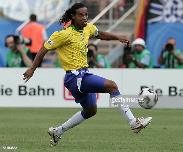 Ronaldinho of Brazil seen in action during the Semi Final Match between Germany and Brazil for the FIFA Confederations Cup 2005 at the Franken...