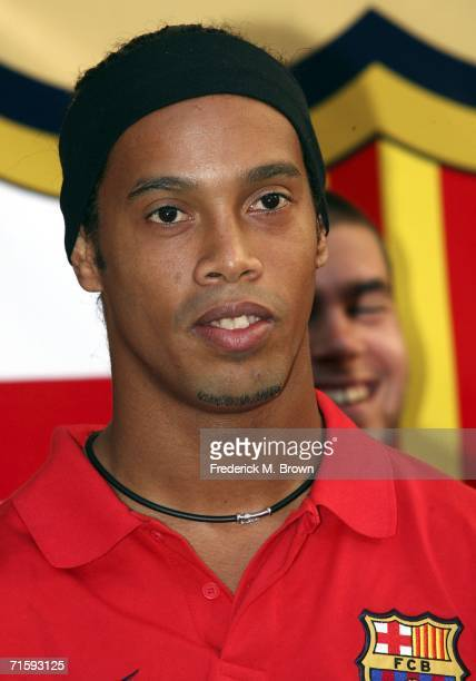 Ronaldinho of Brazil speaks at Nike European Club Champion FC Barcelona Rally at Hollywood and Highland on August 5 2006 in Hollywood California
