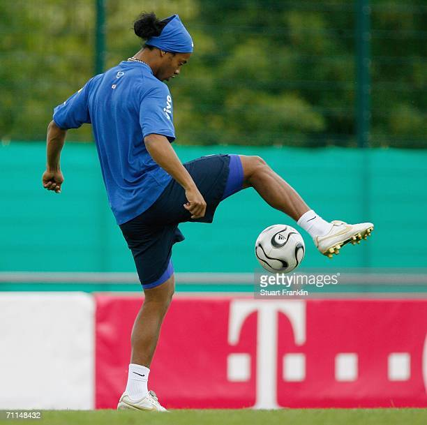 Ronaldinho of Brazil trys a trick during the training session of the Brazilian National Team for the FIFA World Cup 2006 on June 7 2006 in Konigstein...